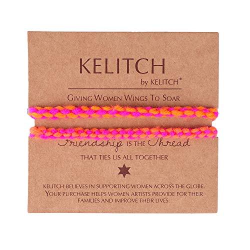 KELITCH Armbänder Paare Frauen Männer Armreif 2 Stück Mehrfarben Handgewebte Baumwollfaden Freundschaftsarmband Charme Armbänder Damen Mädchen (D)