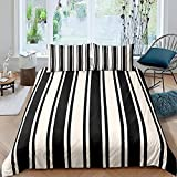 LZTTDMG Duvet Cover Set Double 3D Printed Black White Stripes 3 Pieces Bedding Set with Zipper Closure with 2 Pillowcases for Kids Soft Microfiber Anti-Allergic Quilt Cover 79 x 79 Inch