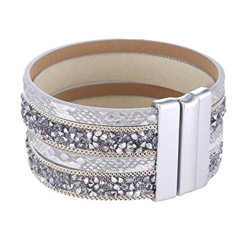 Morella Damen Armband verziert mit Zirkoniasteinen und Magnetverschluss weiß