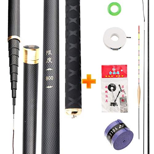 Fishing Rod Super Light Hart Carbon Fiber Hand Angelrute Teleskop Angelrute 2.7M 3.6M 3.9M 5M 5.4M 6.3M 7.2M 8M 9M 10M Stream-Rod angelrute (Color : Black, Length : 4.5m)