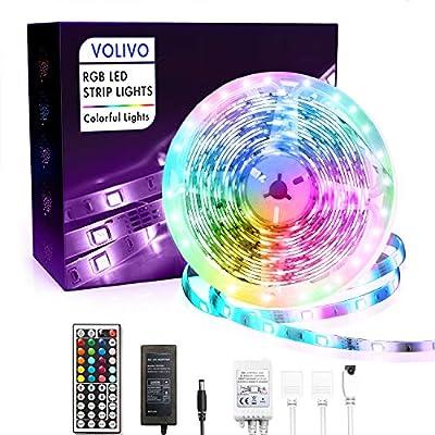 Volivo Waterproof Led Lights for Bedroom 16.4ft Color Changing Strip Light Kit, 1 Roll of 16.4ft