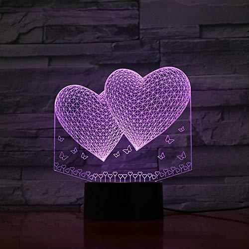 Luz de noche de 3D para niños Lámparas de decoración Matrimonio Doble Corazón decoración del hogar y para codormir Con interfaz USB, cambio de color colorido