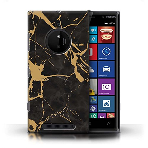 Stuff4 Phone Case/Cover/Skin/noklum CC/Marble Pattern geometrici Collection Gold Gebrochener Marmor Nokia Lumia 830