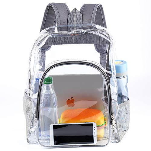 Heavy Duty Transparent Clear Backpack See Through Backpacks Gray Plastic Bookbag for School,Sports,Work,Security Travel,Stadium,College (Grey)