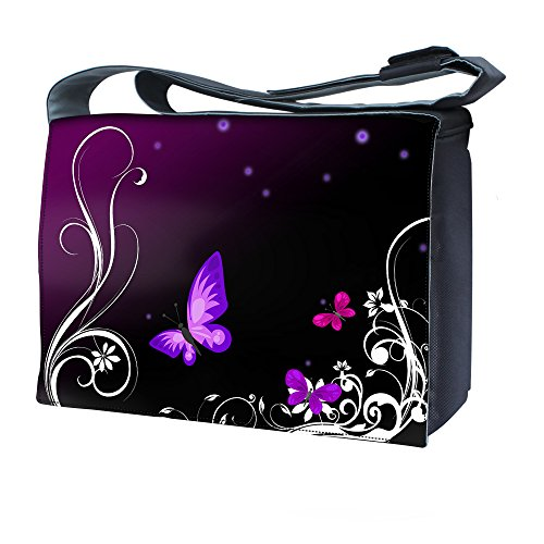 Luxburg 'Butterflies Artwork' Messenger Bag with Shoulder Strap for 17-Inch Laptop/Notebook