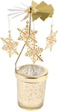 MagiDeal Romantic Rotating Candle Holder Stand Spining Tealight Candlestick Stands, Gold - Snowflake