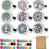 9 PCS car Aromatherapy Fragrance Essential Oil Diffuser Vent Clip Stainless Steel Locket with 108 Replacement Felt Pads