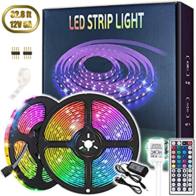Led Strip Lights, 32.8ft 5050 SMD RGB Flexible Color Changing LEDs Light Strips 12V 5A Power Supply with 44 Keys IR Remote IP65 Waterproof for Home, Bedroom, Kitchen, DIY Decoration