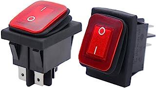 Twidec/2Pcs Waterproof 16A 250V 20A 125V 4 Pins 2 Position ON/Off DPST DC 12V Red LED Light Illuminated Rocker Toggle Swit...