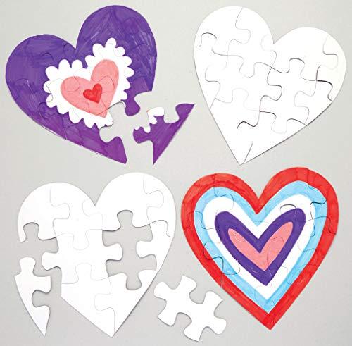 Baker Ross Puzles de corazones para colorear (Paquete de 10) Manualidades para niños para regalar el Día de la Madre o San Valentín.