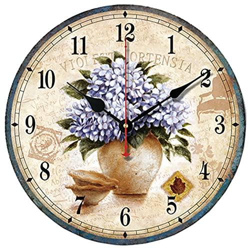 S.W.H Reloj de Pared silencioso de Cuarzo Simple, sin tictac (Amarillo)