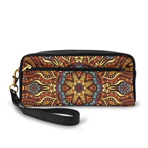 Pencil Case Pen Bag Pouch Stationary,Ethnic Mosaic Like Kaleidoscope Design with Floral Swirls Image,Small Makeup Bag Coin Purse