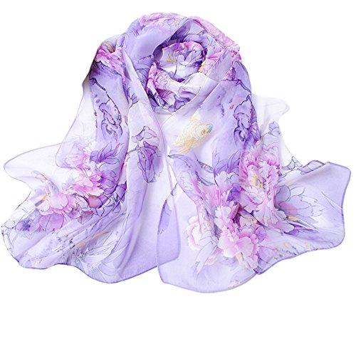 Fashion Chinese Style Floral Scarves for Women Lightweight Wrap and Shawls Girls Chiffon Scarves (Purple)