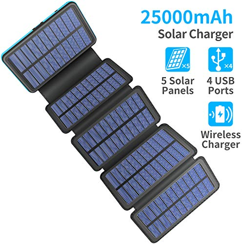 Solar Charger 25000mAh, 5 Solar Panel QI Wireless Outdoor Portable Power Bank - Waterproof Fast Charge External Battery Pack with Dual 2.1A Output USB for Cell Phones Tablet GoPro Camera (Blue)
