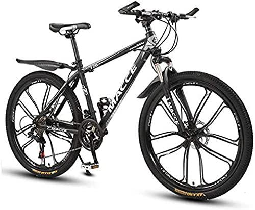 RDJSHOP Bicicleta de Montaña para Hombre de 26 Pulgadas, 21 Velocidades Bicicleta con Frenos de Disco Dual, Marco de Acero de Alto Carbono MTB, Rueda de 10 Radios,Black