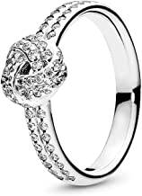 PANDORA Sparkling Love Knot Ring, PANDORA Rose & Clear CZ 180997CZ