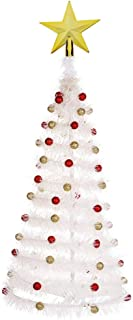 Angmile Novelty DIY Foldable Christmas Tree 58cm/22.8'' Tall with A Star Tree Topper Decor Festival Home Party Family Dinner Ornaments(with/Without Light)