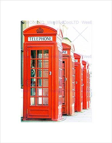 Wee Blauw Coo Foto Telefoon Doos Kiosk Rode Oude Stijl Britse Londen UK Ingelijste Muur Art Print