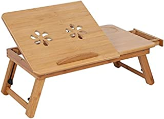High Quality Bed Lap Desk,Bamboo Lap Desk Table Laptop Standing Table Adjustable Breakfast Serving Bed Tray Tilting Top Dr...