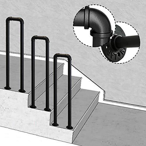 Handläufe Treppengeländer Geländer Indoor-Loft U-Geländer Handläufe Matt-schwarz Schmiedeeisen Brüstungsgeländer handlaufhalter Rohr treppenschiene für Garten Balkon