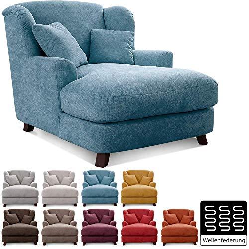 Cavadore XXL-Sessel Assado / Großer Polstersessel mit Holzfüßen und großer Sitzfläche / Inkl. 2 Zierkissen / 109 x 104 x 145 / Webstoff Hellblau