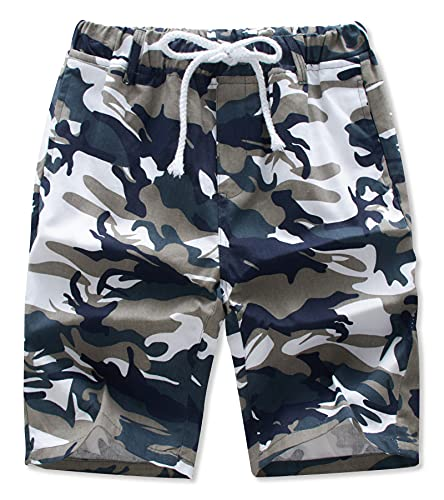 AIDEAONE Kurze Hosen Jungen Cargo Shorts Camouflage Shorts mit Gummizug Kurze Hosen Sommer Freizeithose