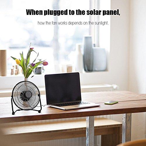 Changor Ventilador de Panel Solar Solar, 0-865MA Iron 6V 22.5 x 18 cm para Viajes al Aire Libre (Negro)