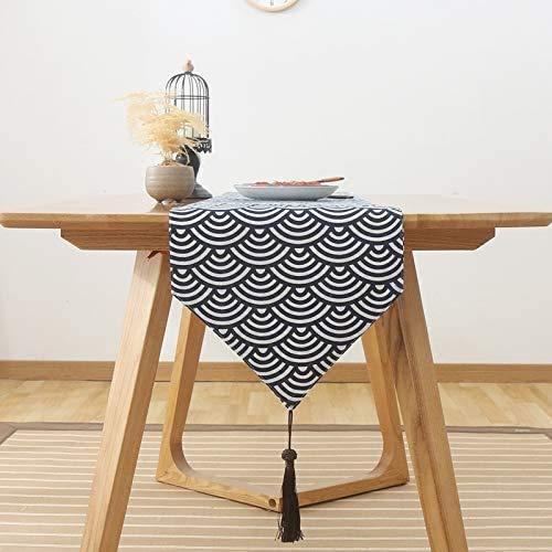 Zairmb Camino de Mesa Impermeable Cinta de Mesa Mantel Tela de Chenilla Hecho a Mano Mantel de Borla Se Puede Utilizar como decoracion de mesa-33X180cm C.