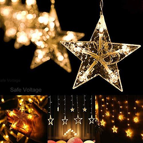Luces de cortina de estrella GVDV con control remoto, 12 estrellas 138