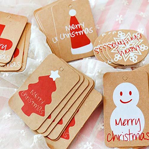 N / A - 100 etiquetas de papel kraft de Navidad con colgante navideño de 10 m de cordel, motivos impresos de Navidad, decoración de Navidad, estilo aleatorio