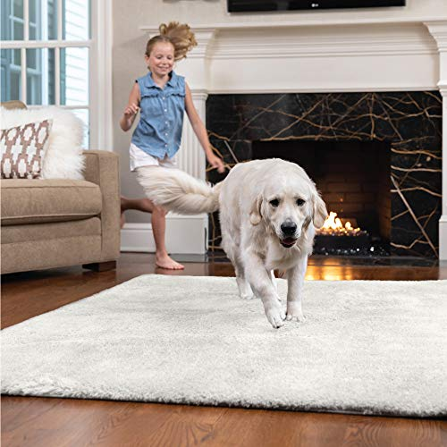 Gorilla Grip Original Faux-Chinchilla Area Rug, 7.5x10 FT, Many Colors, Soft Cozy Pile Washable Kids Carpet, Modern Floor Rugs, Luxury Shag Carpets for Home, Nursery, Bed and Living Room, Ivory