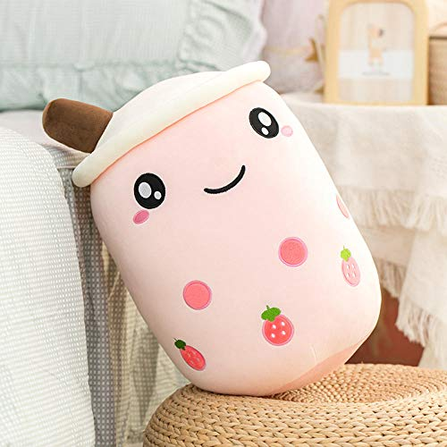 cfdnmoe 24/35/50Cm Cartoon Fruit Bubble Tea Cup Shaped Pillow Real-Life Stuffed Soft Back Cushion Funny Boba Food Girls 50Cm_White_Open_Eyes