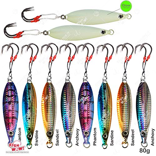 10pcs 80g Fish Wow! Fishing Flat Fall jig 2.8oz Vertical Jig Trolling with Two Assist Hooks 5-Color Set…