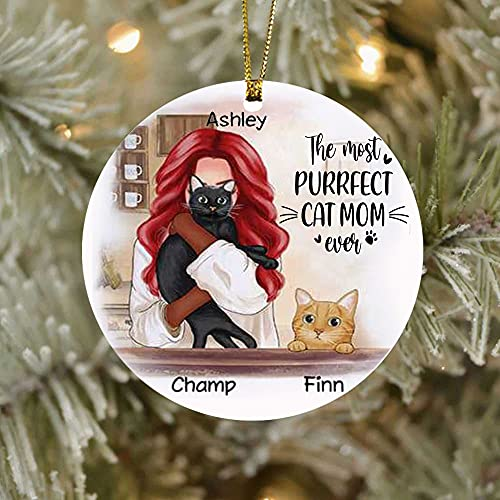 Most Purrfect Cat Mom Ornament, Personalized Name Cat Breed Ornament, Best Cat Mom Ever Ornament, Custom Thanksgiving Holidays Ornament