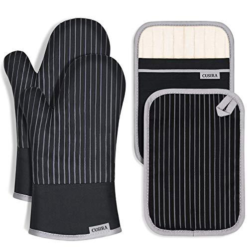 CUSIRA Ofenhandschuhe und Topflappen Set, Hitzebeständige Topfhandschuhe, Silikon Anti-Rutsch Design, Geeignet für Kochen, Backen, Grillen, Schwarz
