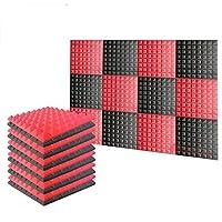 新しい12ピース 500 x 500 x 50 mm ピラミッド 吸音材 防音 吸音材質ポリウレタン SD1034 (黒と赤)