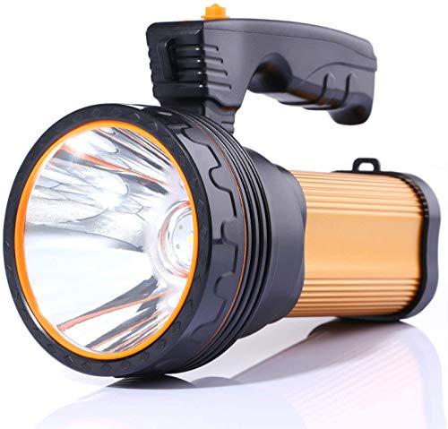 LED Taschenlampe 6000 Lumen USB Aufladbar Handscheinwerfer,mit 6000mAh Powerbank Wasserdicht Led Handscheinwerfer Handlampe Outdoor Wasserfest Super Hell (Golden)