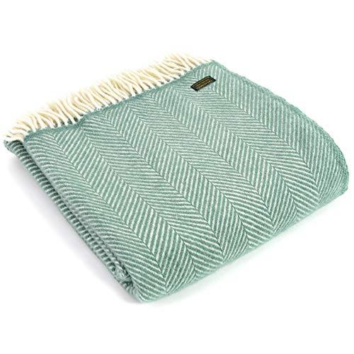 Tweedmill Textiles Fischgräten-Knieteppich, Überwurf, Decke, 100 % reine Schurwolle, hergestellt in Großbritannien, Meergrün