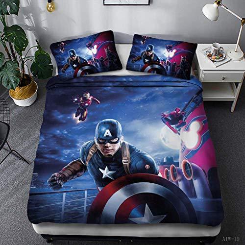 BLSM 2/3-teiliges Marvel The Avengers Bettbezug, 3D-Digital-Superhero Captain America-Druck, Bettbezug, Kinder-Bettwäsche-Set für Einzelbett, Doppelbett, King-Size-Bett (C, Single)