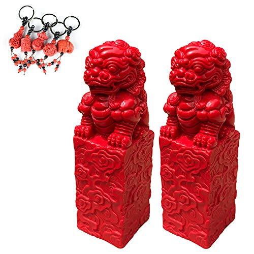 GuoYq Chino Perro León Fu,Chino Feng Shui Templo Leones Fu Perros Decoración De Feng Shui Chino para El Hogar Y La Oficina Atraer Riqueza Y Buena Suerte