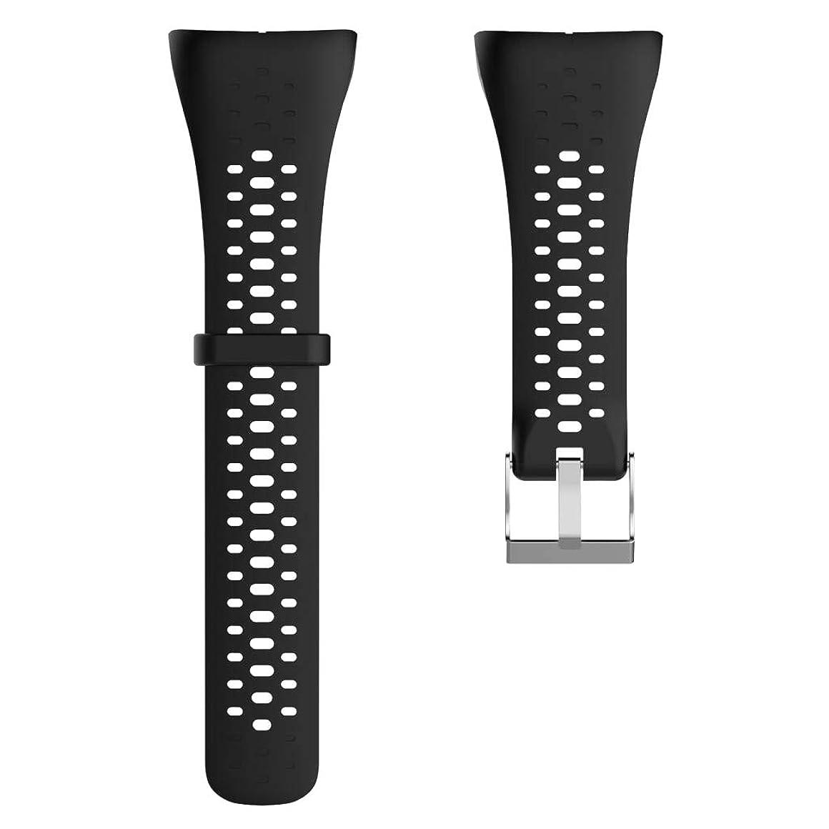 動力学歴史的監査perfk ストラップ リストバンド 交換用 シリコン Bono POLAR M400M430用 全6色 - 黒