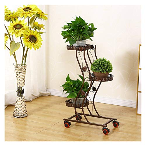 ZHENQ Metal Flower Holder, Balcony Indoor Multi-layer Space-saving Bedroom Living Room Outdoor Floor-standing Household Window Sill Green Sill Potted Iron Flower Stand (Color : B)