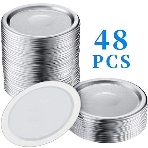 COOFO 48Pcs Regular Split-Type Lids,Stainless Steel Lids For Mason Jar Canning Lids Regular Mouth Reusable Leak Proof Storage Solid Caps Metal Canning Jar Lids(Not Include Band)