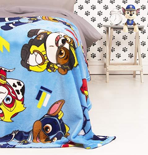 Manta de Forro Polar Oficial de la Patrulla Canina, diseño de Cachorros poderosos, súper Suave, Cualquier Dormitorio, Azul, 100 x 150 cm, PAWSUPFL001UK