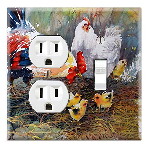 Graphics Wallplates - Chicken Chicks Family Portrait - Outlet Toggle Combo Wall Plate Cover