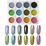 MEILINDS 12 Colori Polvere Olografica Unghie Specchio Arcobaleno Nail Art Pigmento Glitter Polvere Per Unghie