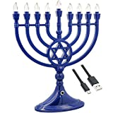 Traditional LED Electric Blue Hanukkah Menorah - Battery or USB Powered - Includes a Micro USB 4' Charging Cable