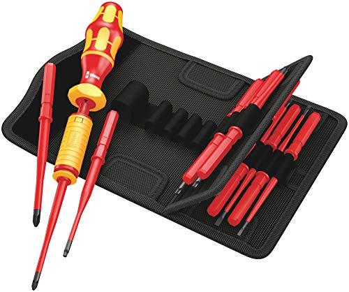 Wera 05059291001 Kraftform Kompakt Torque, VDE-isolierter Bit-Handhalter mit Wechselklingen-Sortiment, 1,2-3,0 Nm, teilig, 15 Stück