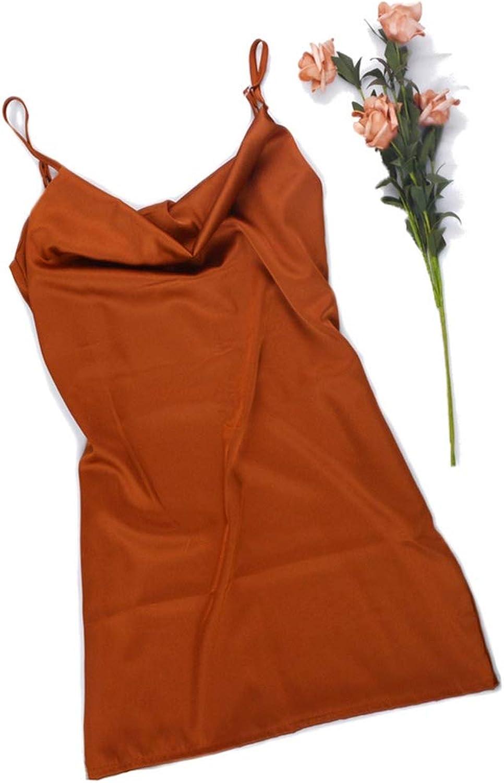 Oceanbeautiful Satin Backless Spaghetti Dress Sexy Shiny Silky Short Mini Living Dress,Khaki,XXL