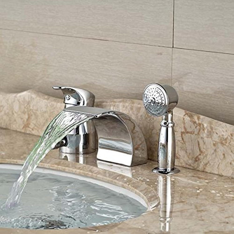 Galvanik Retro Wasserhahn Gro- und Einzelhandel LED Luxus Messing verchromt rmischen Wasserfall Bad Badewanne Armatur 3 PCS, Wei